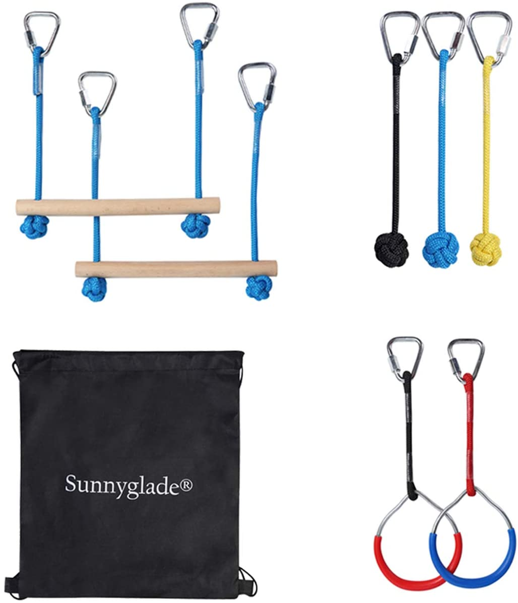 Sunnyglade Backyard Ninja Line Accessories Hanging Obstacle Course/Slackers Ninja Line Accessories for Kids - 2 Bars, 3 Fists & 2Rings