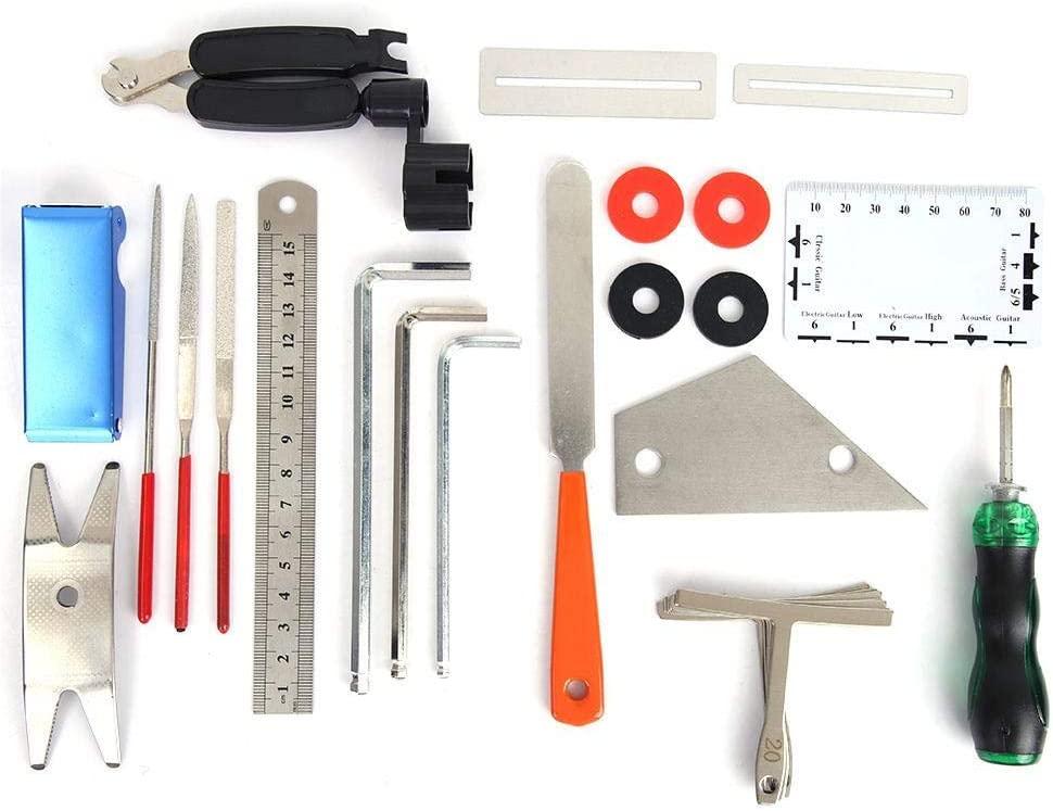 25 in 1 Guitar Repairing Maintenance Tool Setup Kit Guitar Picks String Action Ruler Hex Wrenches Kit for Ukulele Bass Mandolin
