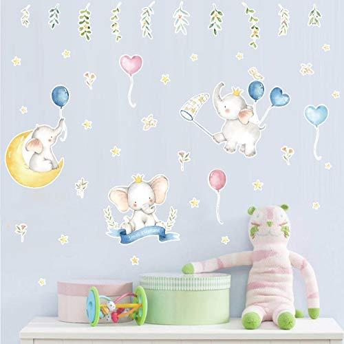 Bamsod Kid Wall Stickers Elephant Wall Decals Art Baby Bedroom Nursery Home Decor 15''x31.5''