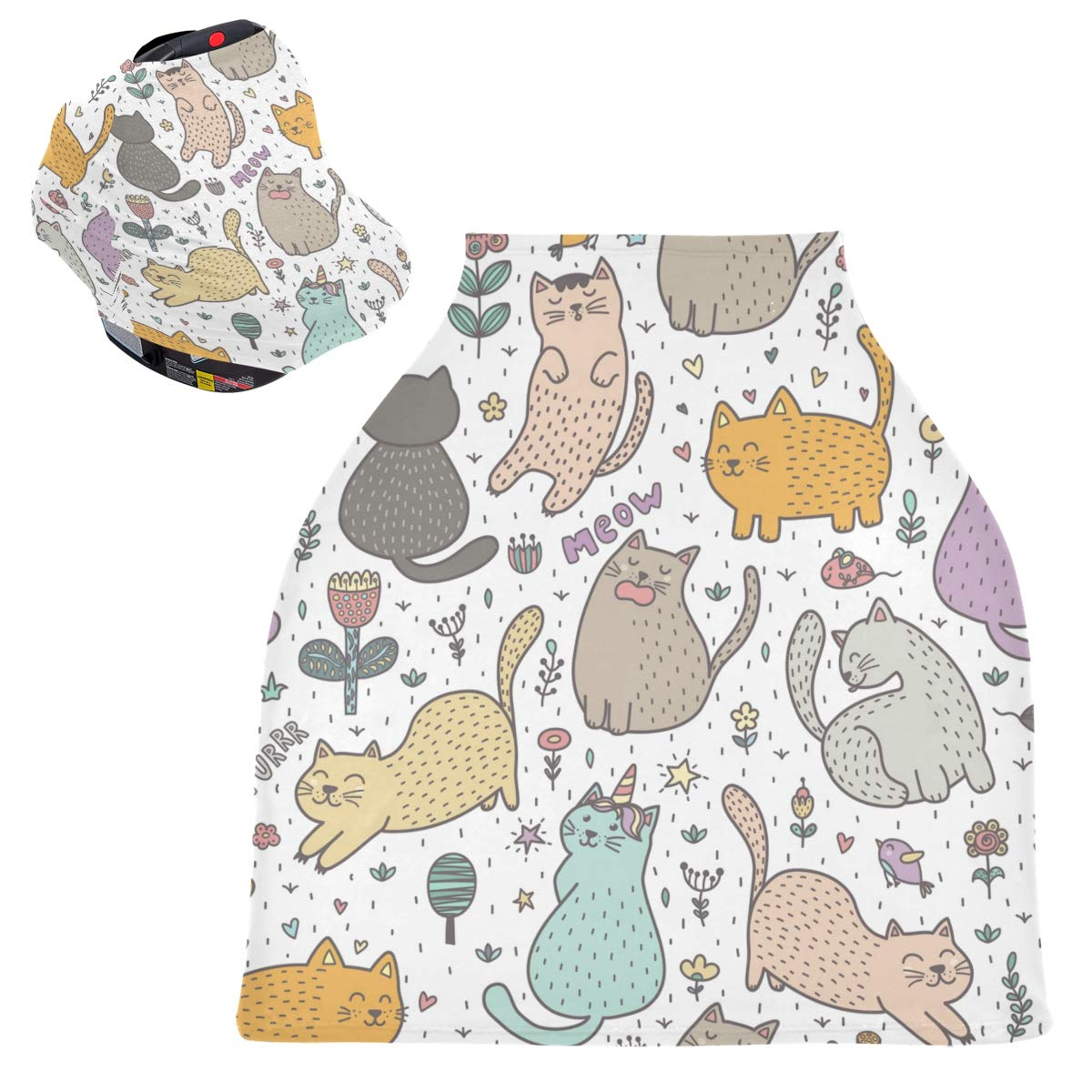 Stretchy Baby Car Seat Canopy - Cute Cats Infant Stroller Cover Multi Use Carseat Canopy Cover Nursing Cover for Breastfeeding Moms