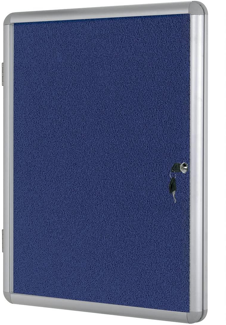 Bi-office Vt770107150 1800mm x 1200mm Blue Felt Aluminium Frame Lockable Internal Display Case
