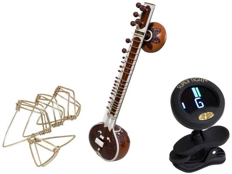Sitar Package Includes: Fancy Professional, G Rosul w/Gig Bag & Extras + Clip-On ChromaticTuner & Mizrabs Picks Sitar Large, Pack Of 4