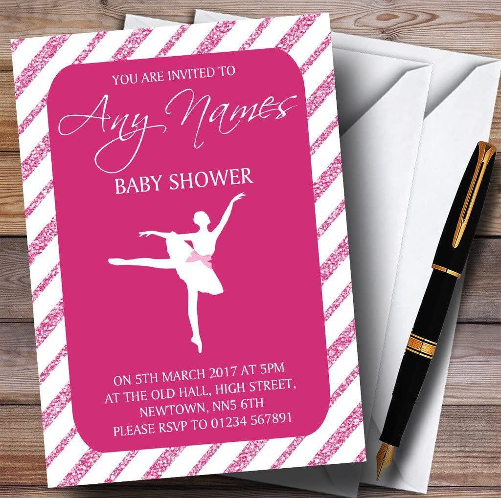 Pink Glitter Stripes Ballerina Ballet Invitations Baby Shower Invitations