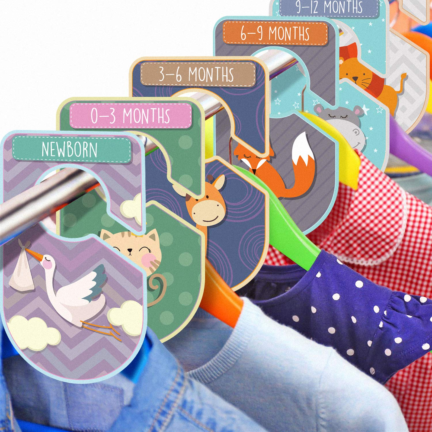 Baby Closet Dividers Set Pack of 20 Animal Themed Closet Organisers Arrange Clothes by Clothing Type Or Age Unisex Cardboard Hanger Rail