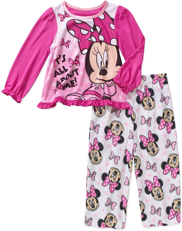 Disney Minnie Toddler Girls 2 Piece Long Sleeve Top & Fleece Pants Pajama
