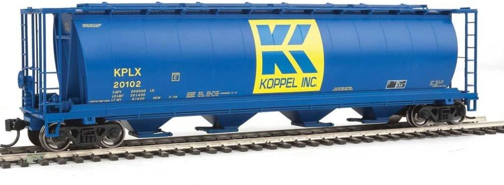 Walthers-59' Cylindrical Hopper - Ready to Run -- Koppel KPLX #20102 (blue, yell