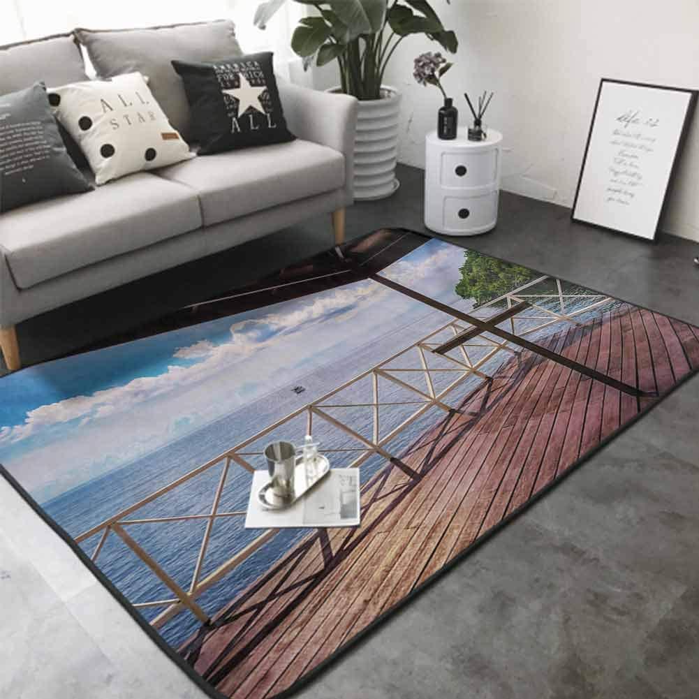 Floor Mat for Toilet Non Slip Balcony Porch Sea Ocean View in Trinidad and Tobago Island Tropic Photo Image Art 36