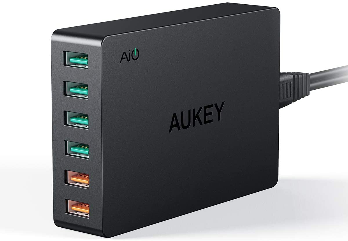 AUKEY Quick Charge 3.0 6-Port USB Wall Charger, 60W USB Charging Station Compatible with Samsung Galaxy Note8, iPhone 11/11 Pro/Max, iPad Pro/Air, LG, Nexus, HTC and More