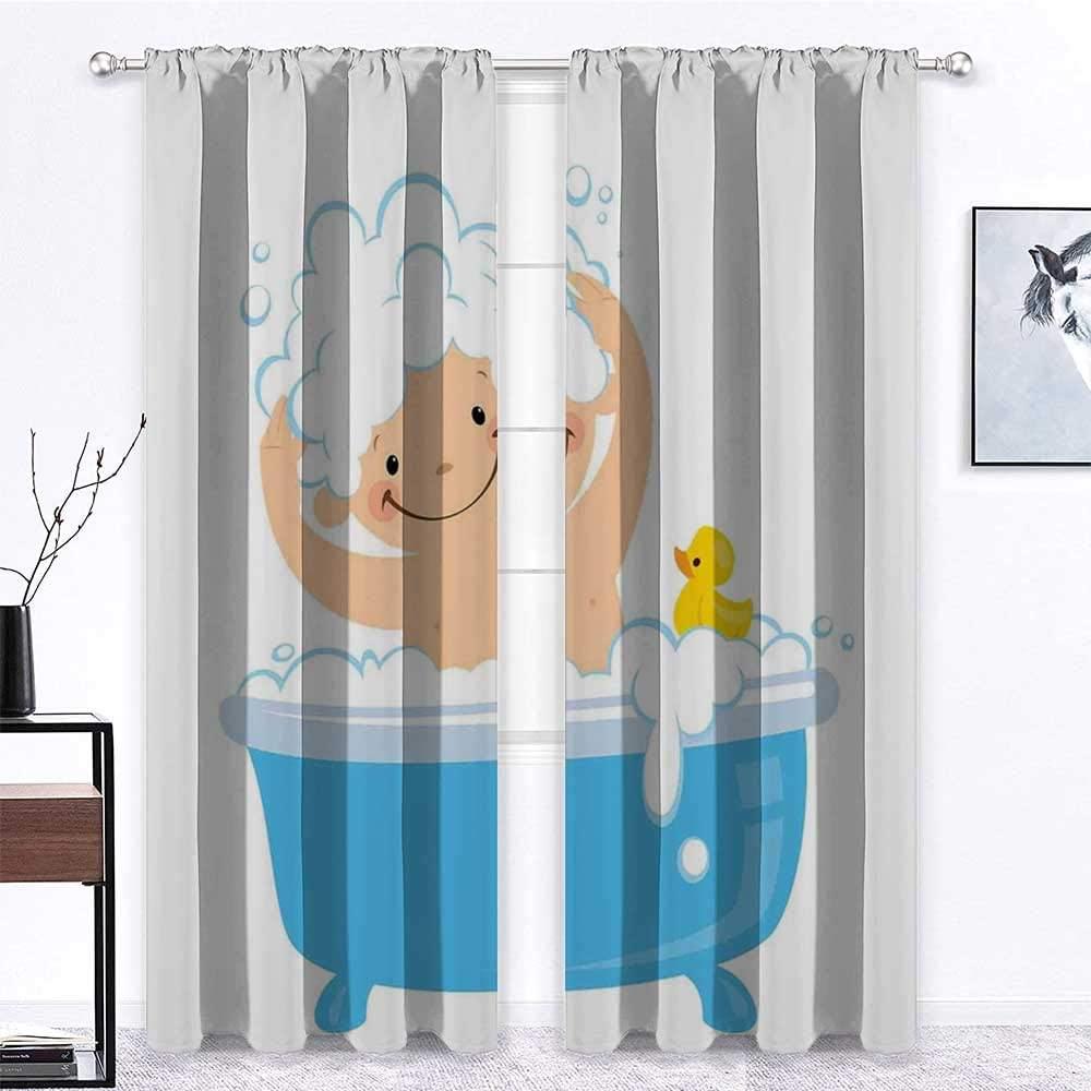 carmaxs Cafe Curtains Nursery Custom Drapes Baby Boy with Smiley Face Having Bubble Bath with Rubber Duck Kids Theme Art 2 Panels 72