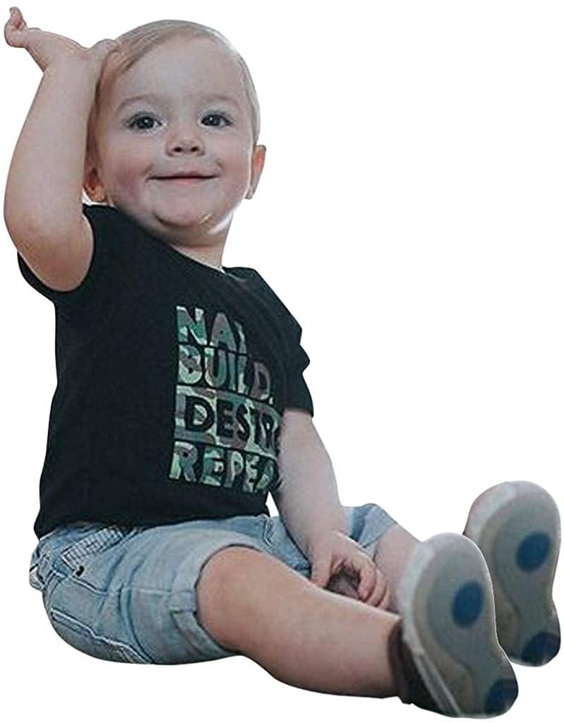 Jumaocio Children's Wear Kids Baby Boys Camouflage Letter Print T Shirt Tops Denim Shorts Outfits Sets (80,90,100,110,120)