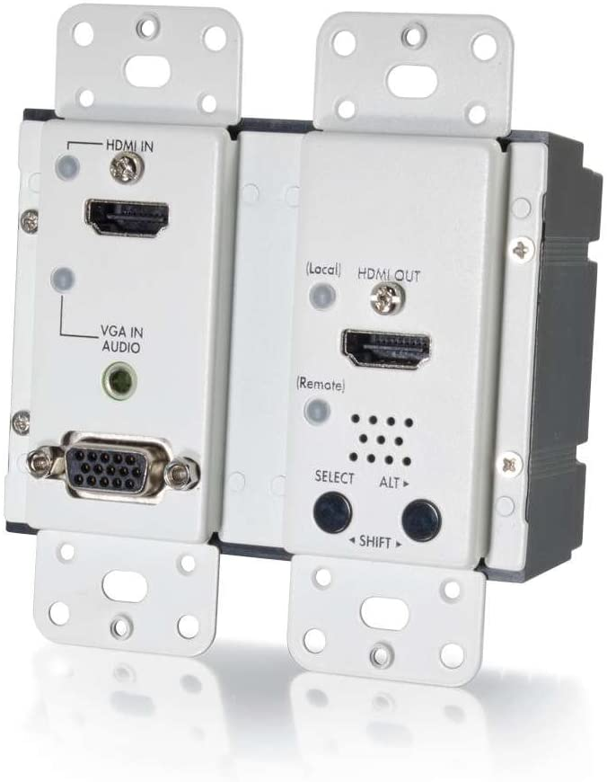 C2G 29301 HDMI and VGA + Stereo Audio HDBaseT over Cat5 Extender Wall Plate Transmitter, TAA Compliant, White
