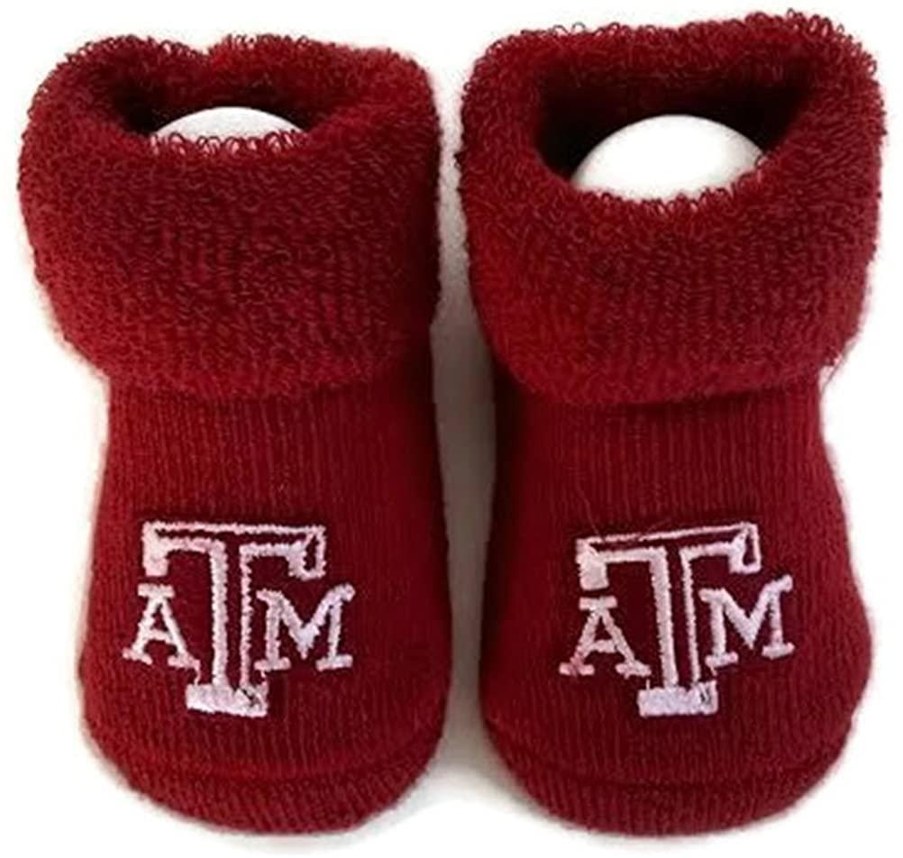 Texas A & M Baby Booties Maroon Aggie Infant Socks NCAA Licensed Logo