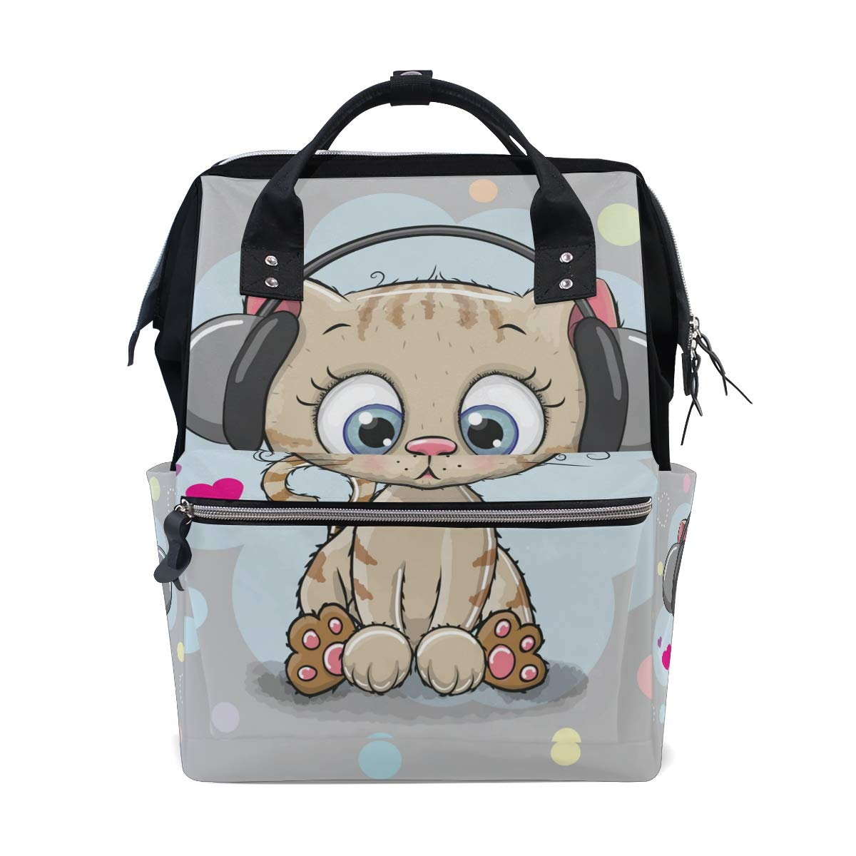 Diaper Bag Backpack Cute Cartoon Kitten Multipurpose Travel Backpack