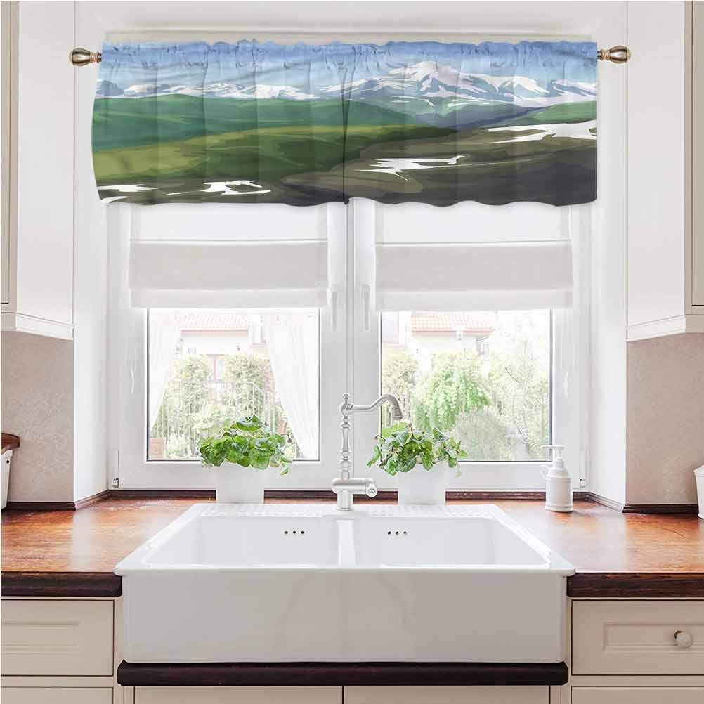 Window Valance Landscape, Oil Painting Mountain Printed Window Curtains Valance for Kids Girl Baby Nursery Bedroom 56 x 14 Inch