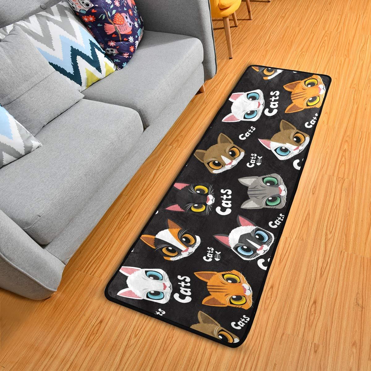 Hallway Runner Rug Rubber Backing - Cute Cats Runner Rug for Kitchen Rug Carpet Runner Non Skid Washable Rug Runner 2x6