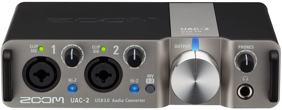 Zoom UAC-2 USB 3.0 Audio Interface, 2 In/2 Out Audio Interface, 2 Mic/Line/Hi-Z Inputs, MIDI I/O, Headphone Output, 2 Line Outputs, Bus Powered