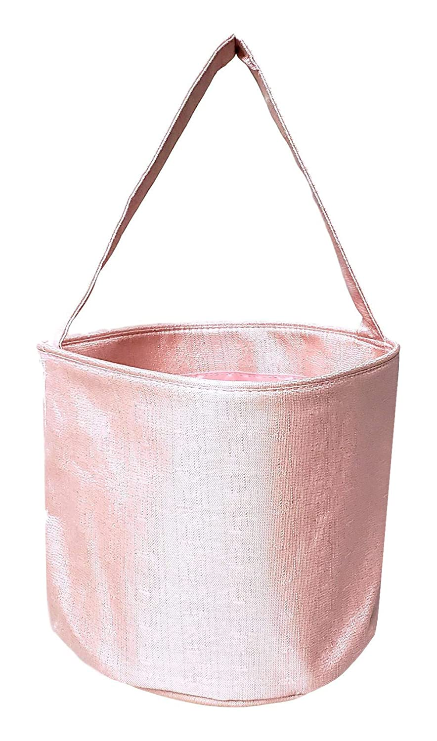 Girls Shimmer Fabric Easter Egg Basket Bucket Tote Bag Gift for Kids Pink Purple - Can be Personalized (Pink)