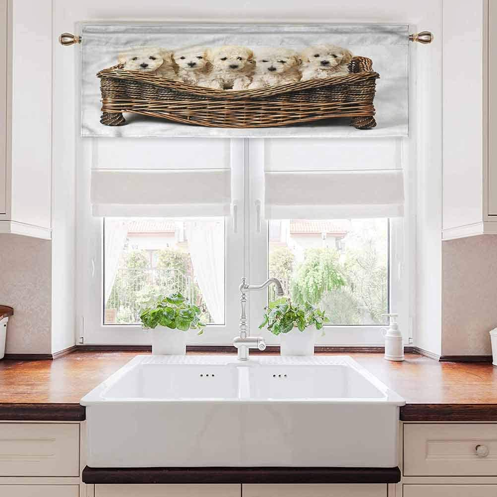 Ahuimin Rod Pocket Window Curtain Valance, Dog Lover,Cute Little Baby Puppies, 42