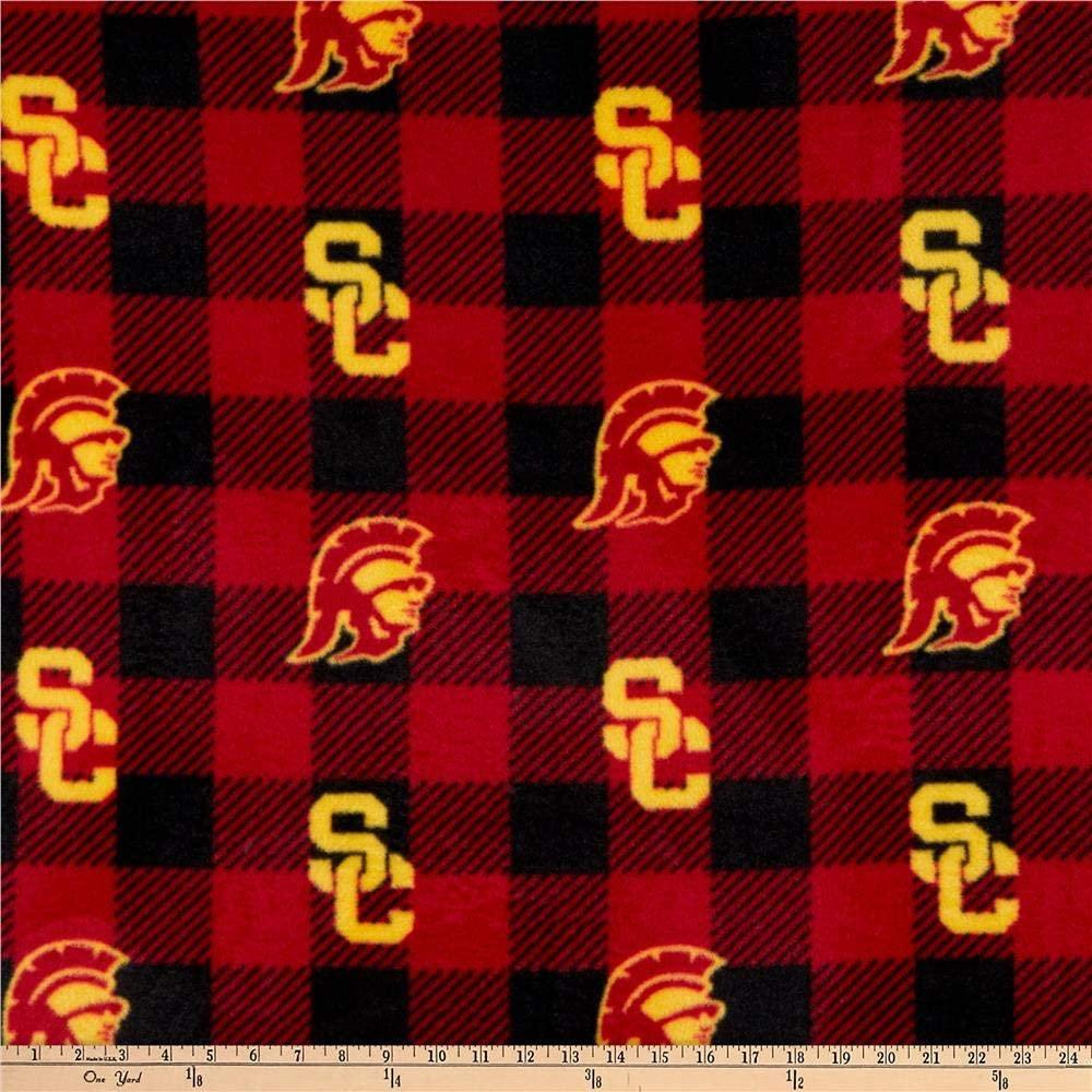 Sykel Enterprises NCAA USC Trojans Buffalo Plaid Fleece, Red/Black/Yellow Yard
