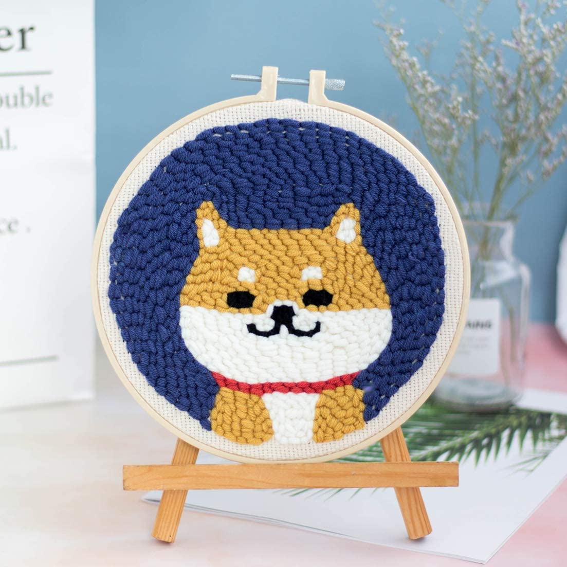 Yamix Punch Needle Embroidery Kit, DIY Rug Hooking Kit Cute Kids Craft Kit Latch Hook Kits Needlework Crafts for Kids and Adults