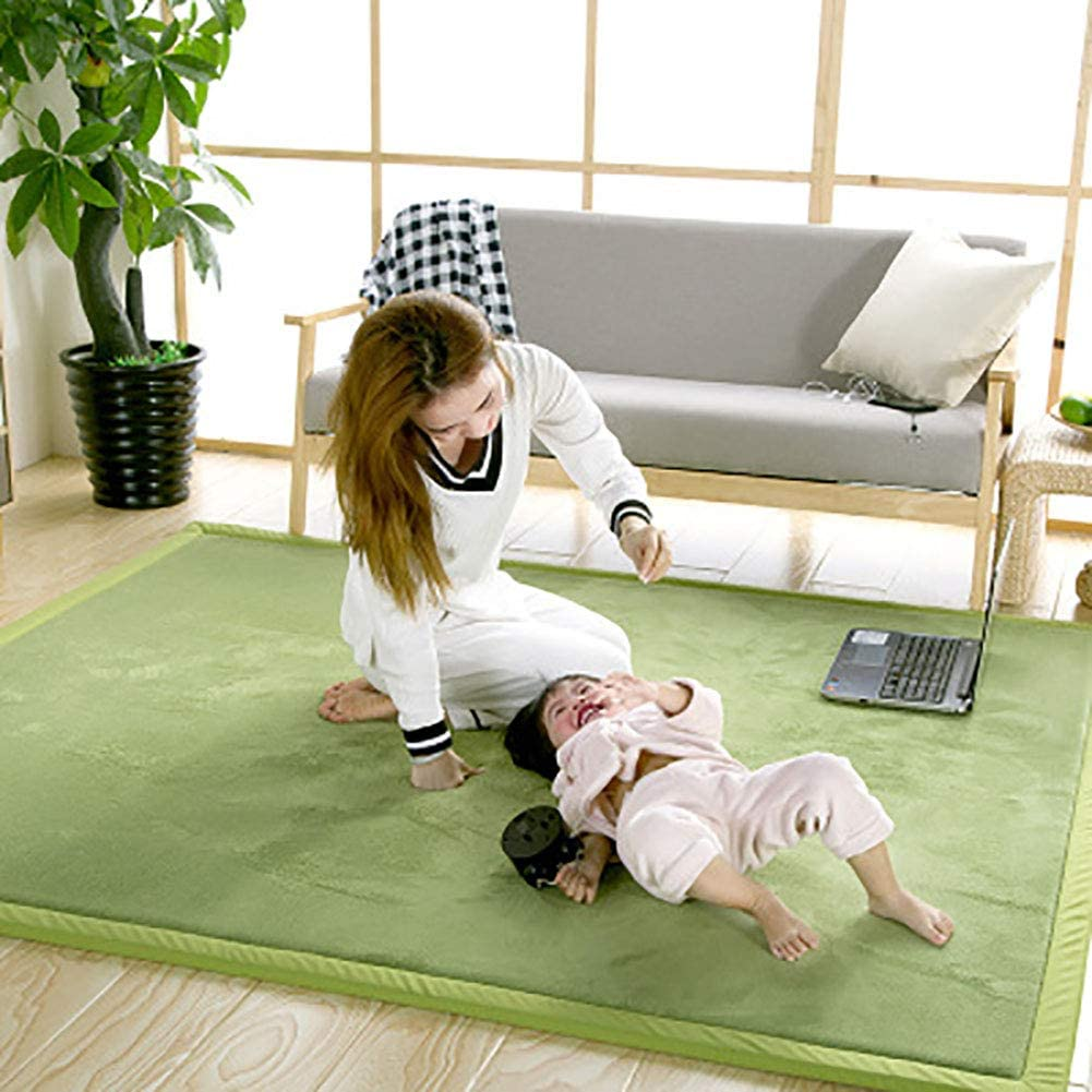 TOPYL Area Rugs for Nursery Baby Toddler Children Kids,Green Coral Velvet Play Crawling Mat Not-Slip,Yoga Mat Exercise Pads Thickness:3cm 200x200cm(79x79inch)