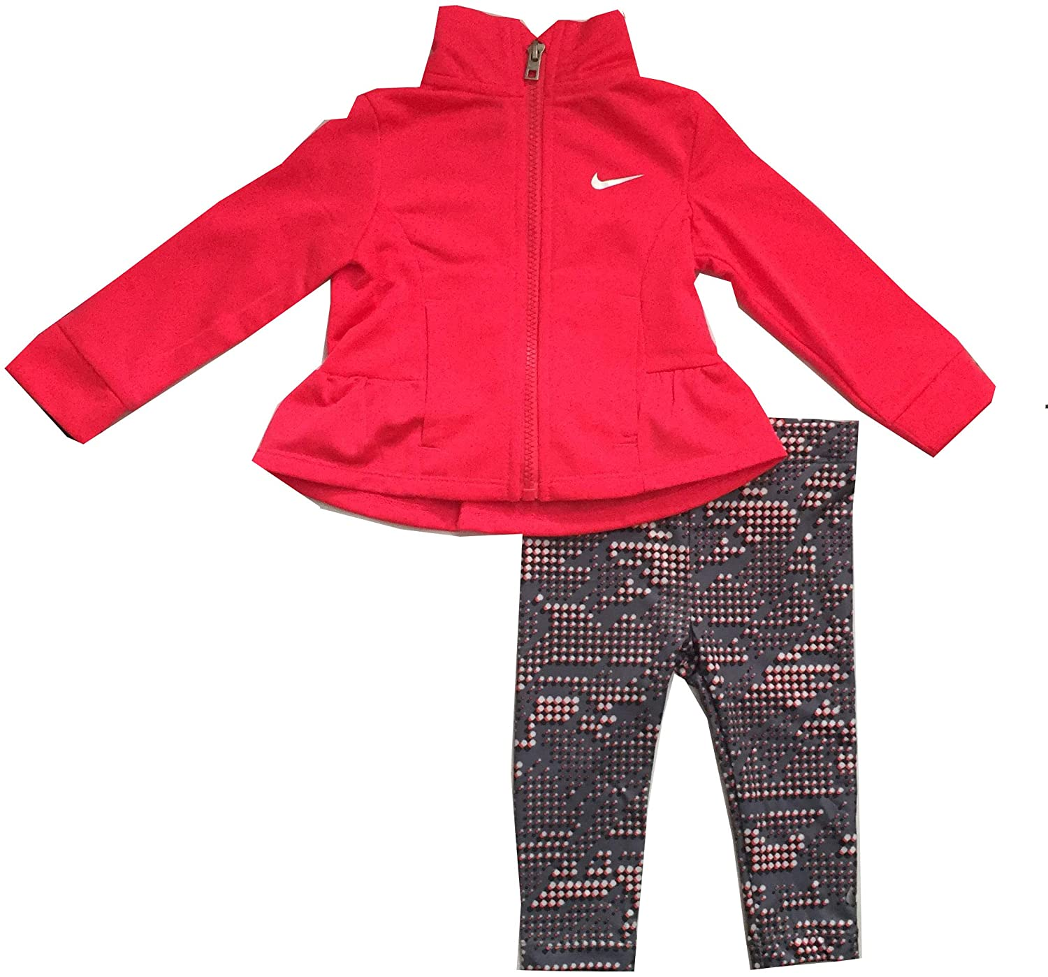 Nike Infant Girls 2 Piece Jacket and Pants Set Pink/Cool Gray Size 12 Months