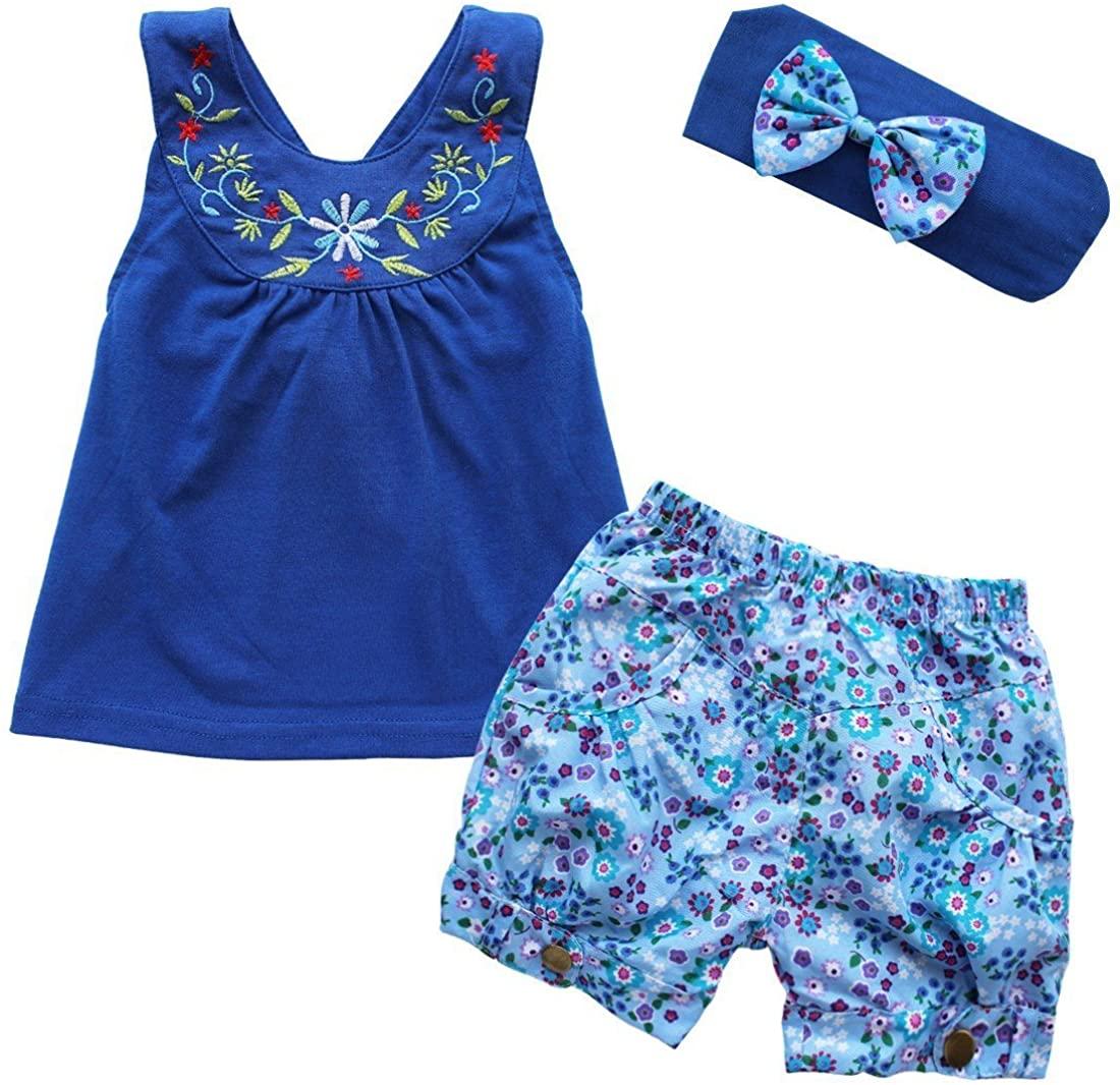 iiniim Baby Girls 3PCs Flower Outfit Headband + Vest Top + Shorts Clothes Set