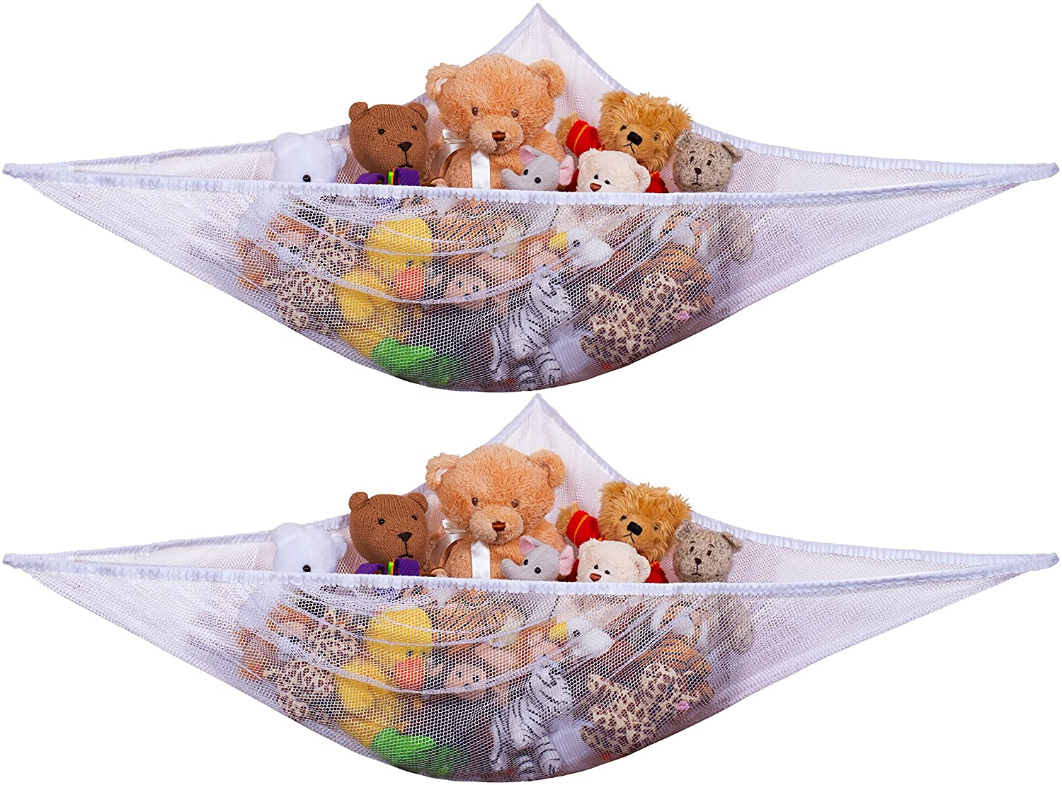 Jumbo Toy Hammock, White - Organize Stuffed Animals and Children's Toys with this Mesh Hammock. Great Decor while Neatly Organizing Kid's Toys and Stuffed Animals. Expands to 5.5 feet. (2-Pack)
