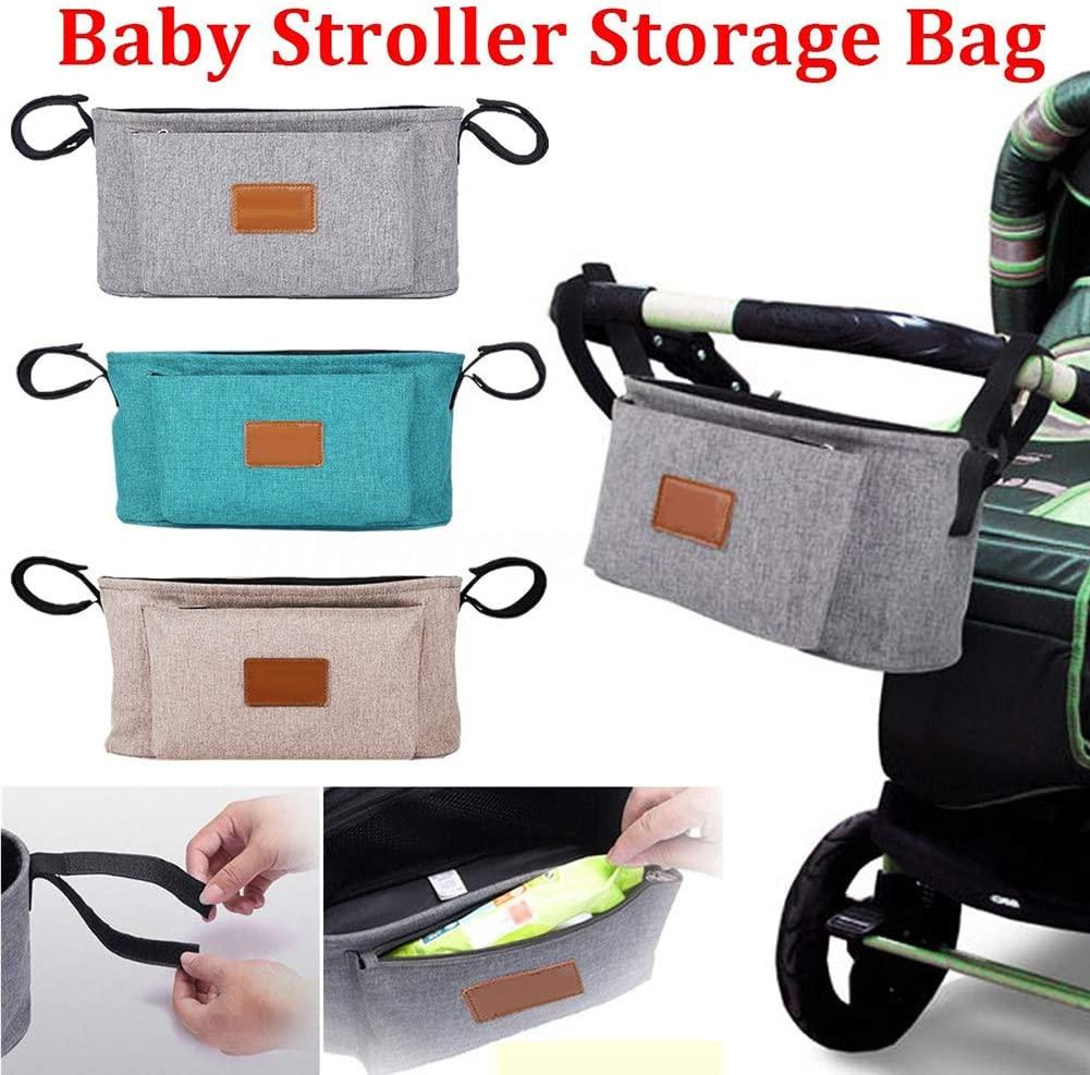 HomLand Portable Baby Stroller Pram Pushchair Hanging Storage Bag Bottle Diaper Pouch for Home Khaki