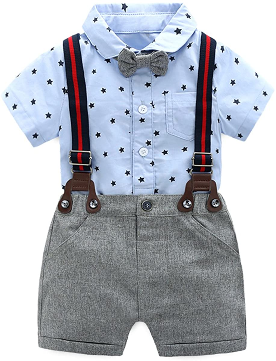 Baby Boys Gentleman Outfits Suits, Infant Short Sleeve Blue Onesies+Gray Pants+Bow Tie Clothing Sets