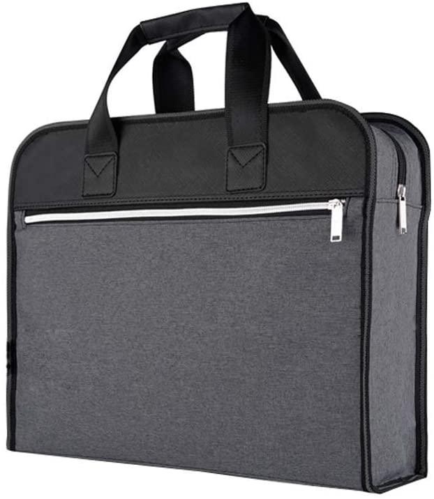 Document Bag Zippered Business Office Briefcase Meeting Handbag, Gray