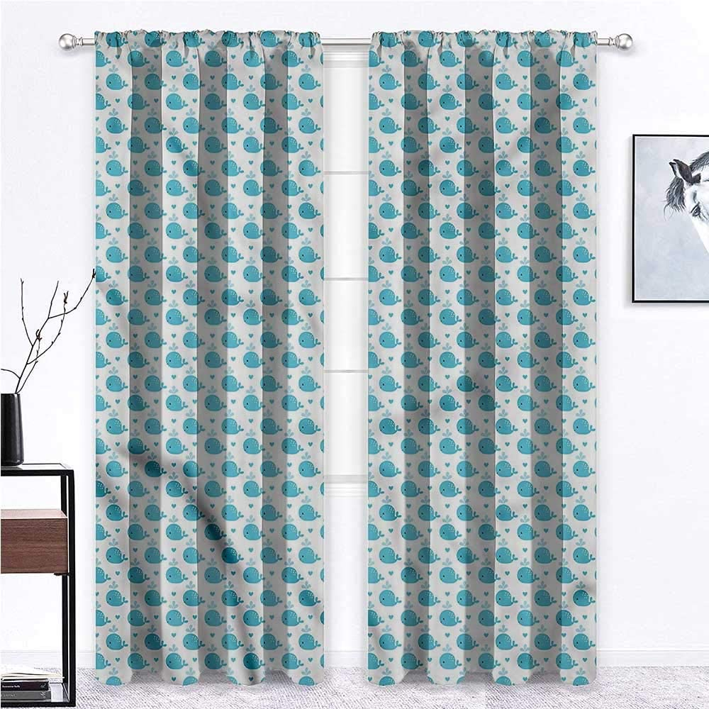 GugeABC Long Curtains Whale Thermal Prevent Noise Little Fish for Baby Kids 108 x 84 Inch (2 Panels)