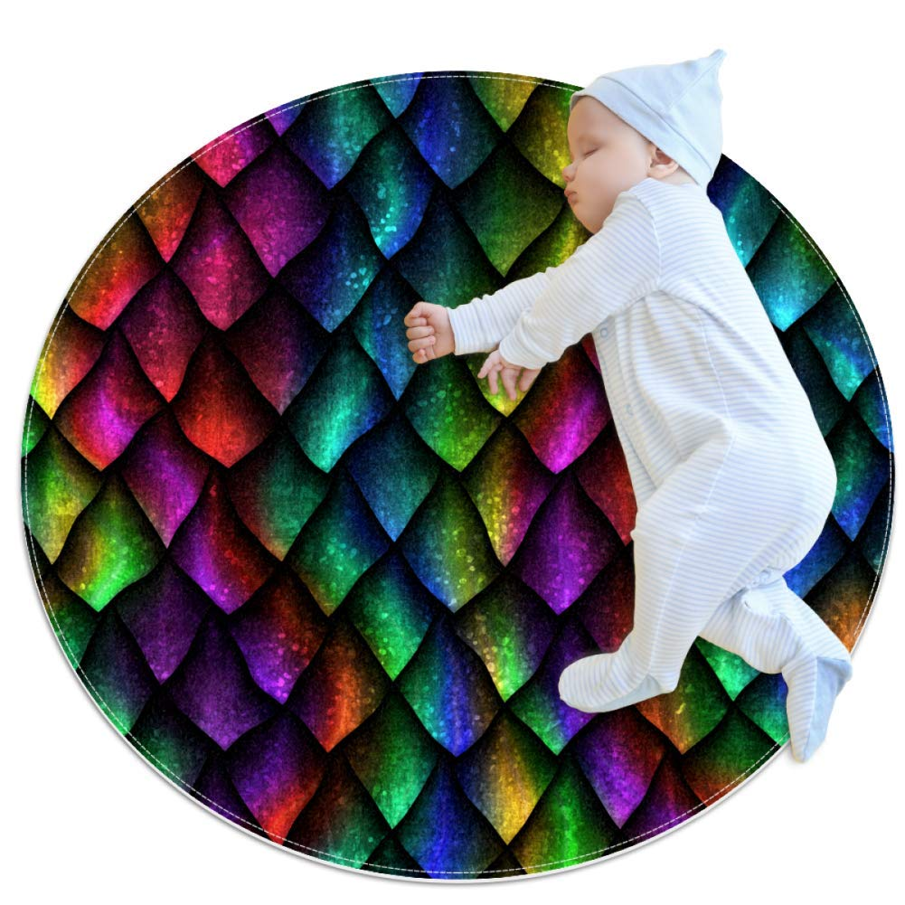 Nursery Area Rug Grid Color Play Mat Anti-Slip Baby Rug Soft for Baby Boys Girls 31.5x31.5in