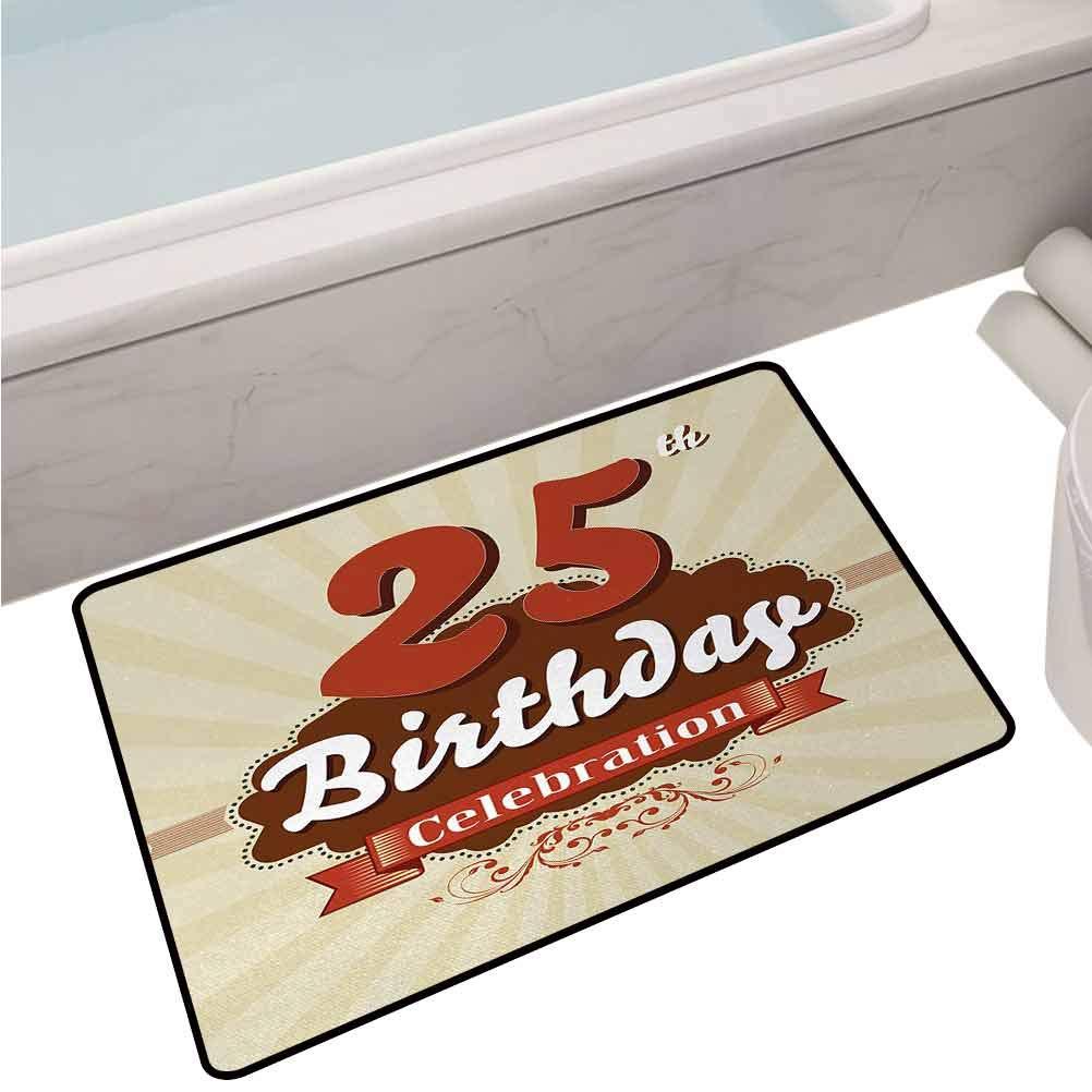 Indoor Doormat Rug Aged Design Typography 25th Retro Style Fashionable Retro Print,32