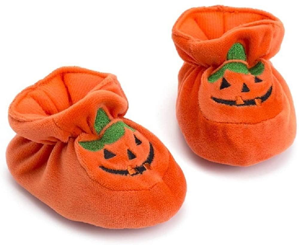 Newborn Baby Boys' Girls' Halloween Pumpkin Bootie Soft Soles Infant Crib Shoes