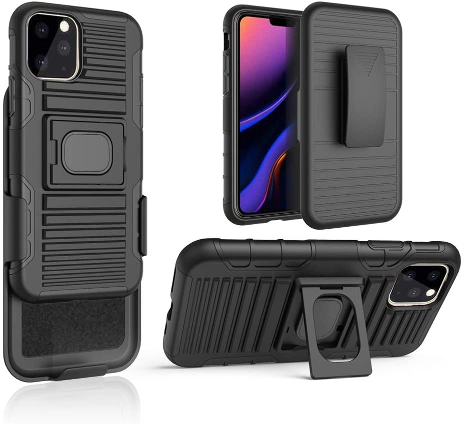 chuangxinfull iPhone 11 Pro Max Holster case, Hybrid Dual Layer Armor Defender Protective Case Cover + Belt Clip Holster for iPhone 11 Pro Max