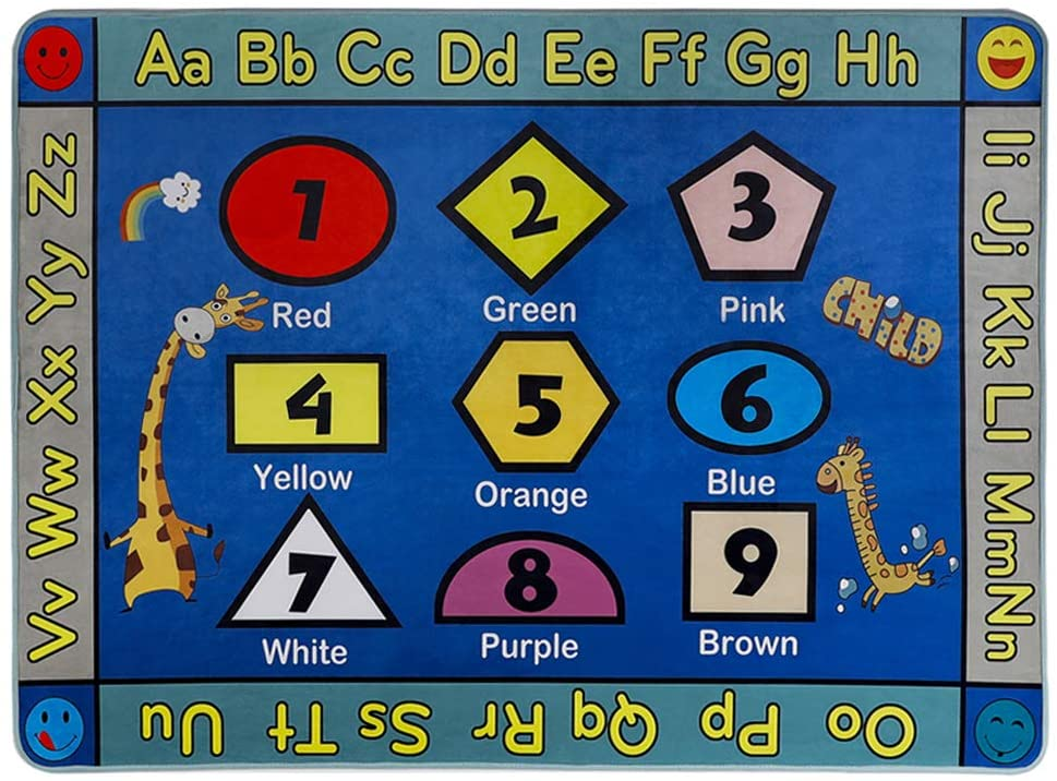 LISIBOOO Educational Kids Area Rugs, Playtime Collection ABC Numbers Animal Large Carpet Vibrant Alphabet Play Mat, for Children Bedroom Living Room Nursery Classroom (5'2''x7'6'', Shapes Giraffe)
