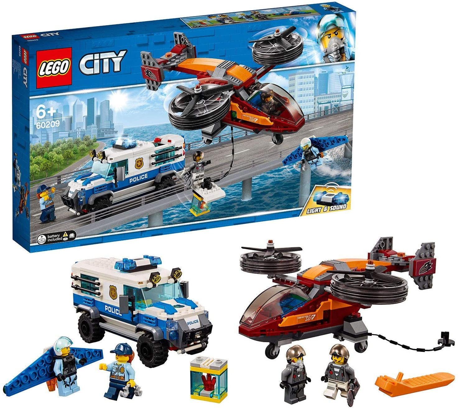 LEGO City Police Sky Police Diamond Heist Playset, Toy Helicopter & Truck, Police Toys for Kids