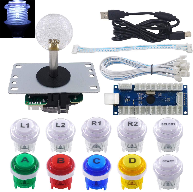 SJ@JX Arcade Game LED DIY Kit Mechanical Keyboard Switch LED Highlight Click Button Highlight Click Arcade Joystick Controller Zero Delay USB Encoder PC MAME Retropie Jamma