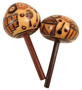 Carved Pair Gourd Stick Maracas Hand Made Fair Trade Peru Musical Instrument