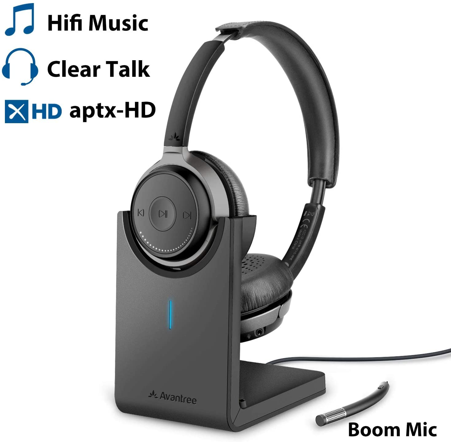 Avantree Alto Clair Bluetooth 5.0 Headset with Microphone for Computer PC Laptop, aptX HD Hi-Fi Music Sound, Low Latency, Wireless Headphones with Boom Mic for Home Office, Skype, Calls, TV