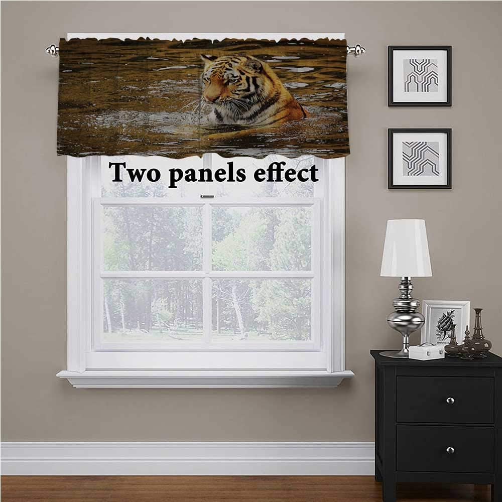shirlyhome Animal valances Window Treatments Wildlife Safari Tiger Lake for Kids Room/Baby Nursery/Dormitory, 42 Inch by 18 Inch 1 Panel