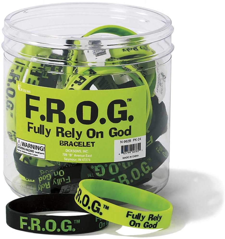 Bulk Green And Black Fully Rely on God Frog Silicone Bracelets (24 Pack)