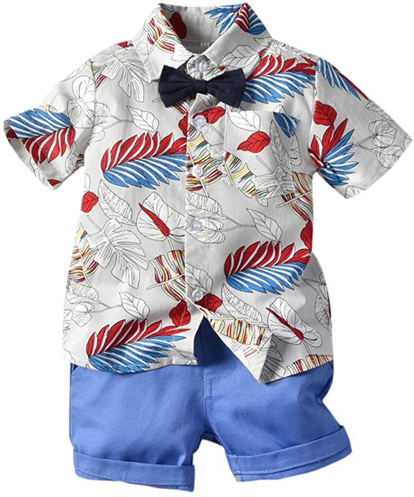 Toddler Boy Clothes 2 Piece Set, Baby Boys Clothes Gentleman Bow Tie Suits, Little Boys Clothes Short Sleeve Button Down Hawaii Dress Shirt Shorts Outfit, Blue, 2-3 Years Toddler=Tag 110