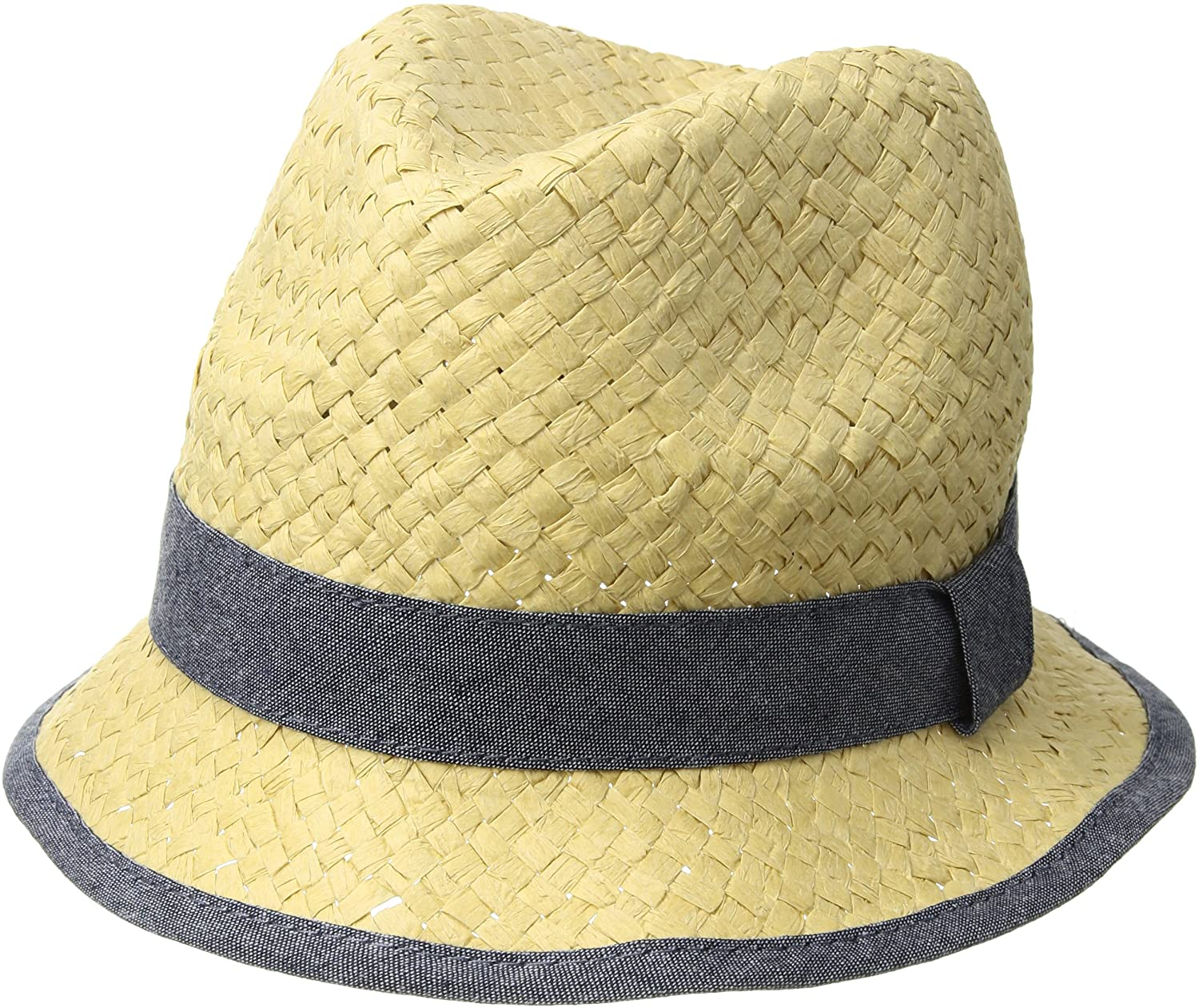 Mud Pie Baby Boys Straw Fedora with Chambray, beige, Toddler