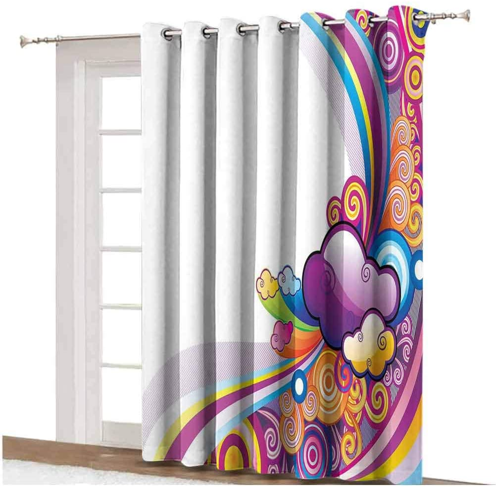 Cartoon Sliding Door Curtain Kids Nursery Room Decoration Rainbows Colored Clouds Lines Rounds Suns Print Image Thermal Backing Sliding Glass Door Drape ,Single Panel 80x84 inch,for Patio Door Multico