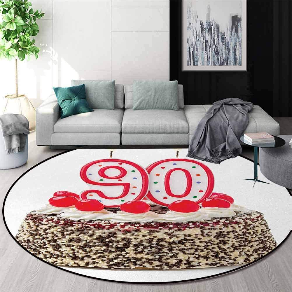 DESPKON-HOME 90Th Birthday Super Soft Circle Rugs for Girls,Birthday Cake with Tasty Cherries Burning Candles and Number Ninety Baby Room Decor Round Carpets Round-24 Inch,Red Brown White
