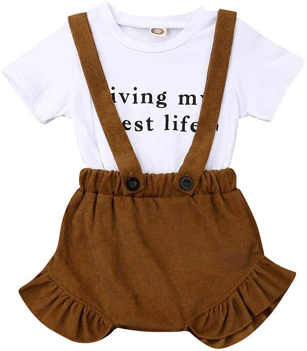Toddler Baby Girl Clothes Short Sleeve T-Shirt Tops + Bib Shorts Outfit Set
