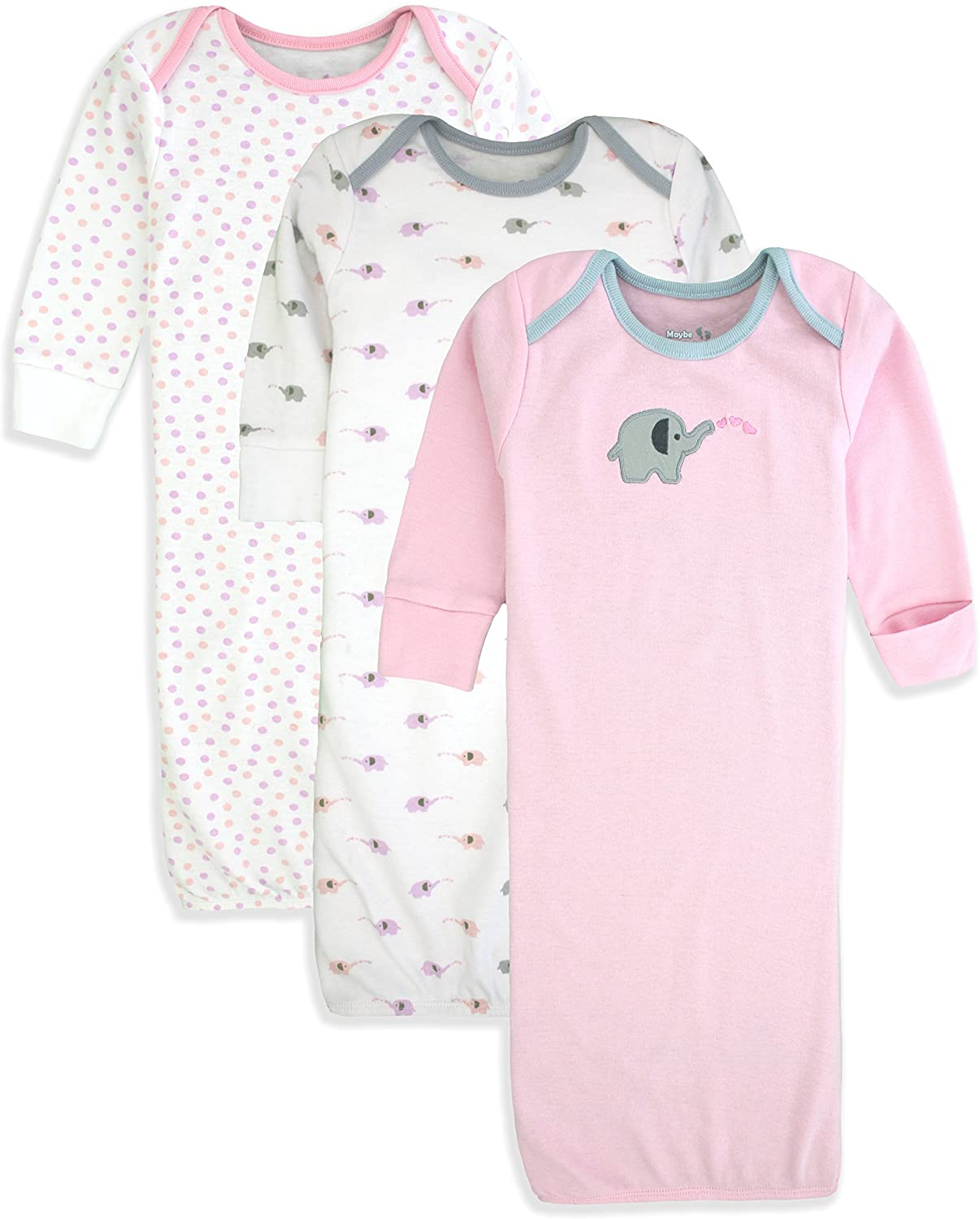 Maybe Baby Kids Infant Boys' and Girls' 3 Pack Set Cotton Baby Nightgowns w/Mitten Cuffs, 0-6 Months