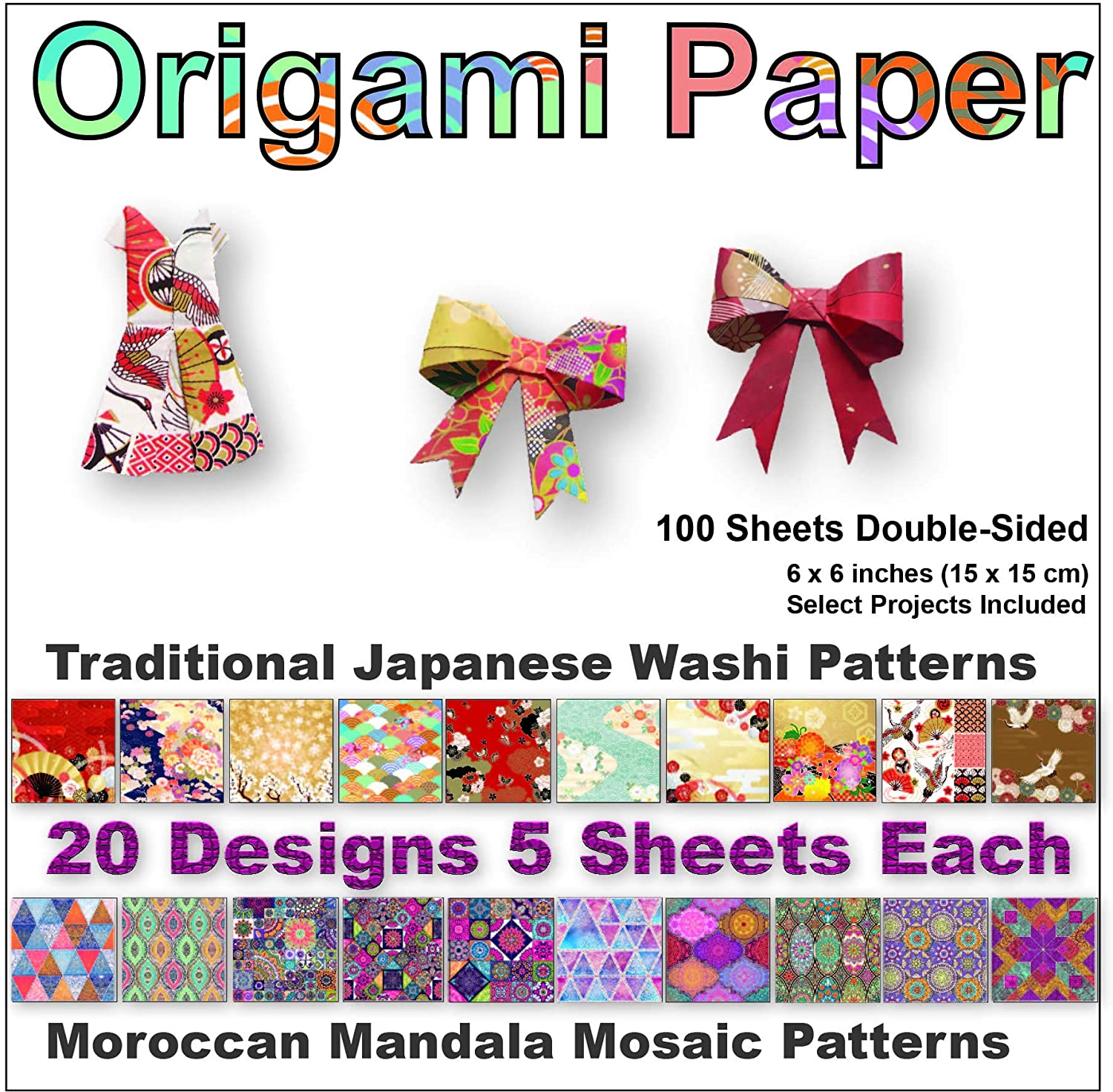 Premium Origami Paper of Japanese Washi and Moroccan Mosaic Patterns, 6x6 inch Double Sided 100 Sheets, 20 Beautiful Designs, Easy Folding for Paper Crafts, Decoration and Kids